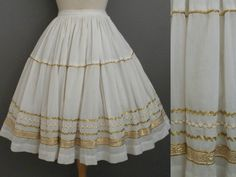Vintage 50s 60s Ivory Gold Cotton Gauze Squaw Patio Full Swing Skirt by GGMMVintage, etsy