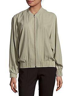 Saks Fifth Avenue BLACK - Zip-Front Silk Jacket