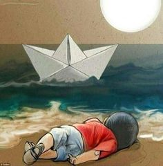 This moving artwork depicts Aylan Kurdi lying dead on the beach as a paper boat travels of...