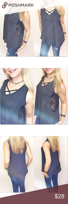 """✂️PRICECUT✂️Lace Criss Cross Flowy Tank Top SML Beautiful criss cross sleeveless top with lace side panels. A fun mix of trendy & sexy in ribbed charcoal gray & black lace. Flattering, flowy & stretchy. 95% rayon - 5% spandex Looks great with denim, black or white  Small 2/4 Bust 32-34 Length 26""""  Medium 6/8 Bust 36-38 Length 26.5""""  Large 10/12 Bust 40-42 Length 27"""" Tops Tank Tops"""