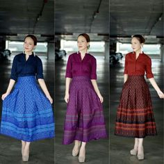 Thai Dress, Midi Skirt, Fashion Outfits, Simple, Awesome, Skirts, Clothes, Vintage, Dresses