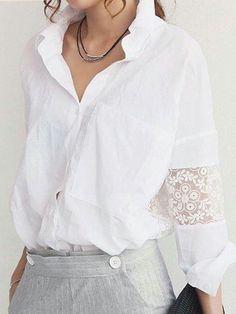 Blusa manga renda