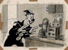 1930s Cartoons, Classic Cartoons, Disney Cartoons, Cartoon Design, Cartoon Styles, Cartoon Art, Cartoon Characters, Creepy Vintage, Black And White Cartoon