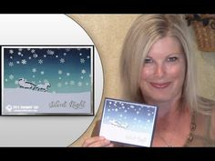 """Stampin Up Open Sleigh """"Shadow"""" on Brayered Resist Background Christmas ..."""