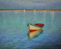 Harbor Dory Boat Seascape Pastel Painting by Poucher, painting by artist Nancy Poucher