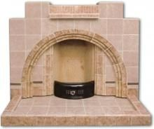 tiled fireplace with arched detail Art Deco Fireplace, Tiled Fireplace, Fireplace Surrounds, Diy Dollhouse, Dollhouse Miniatures, 1930s Decor, 1940s Home, Chimney Breast, Vintage Tile