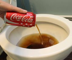 a dash of Coca-Cola (or any other soft drink) in your toilet bowl cleaning solution will greatly improve its effectiveness. The acid works wonders at removing stains. Remember to rinse with water.