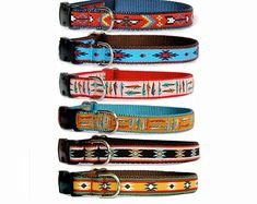 Dog collar dog leash Small dog collar large dog collar Tribal Southwest Mexco Aztec Indian Native American influenced boy male dog collars