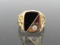 Vintage Mens Solid Yellow Gold Diamond & Black Onyx nugget Ring Size 11 by on Etsy 14k Gold Ring, Yellow Gold Rings, Round Cut Diamond, Black Onyx, Solid Gold, Gemstone Rings, Vintage, Jewelry, Etsy
