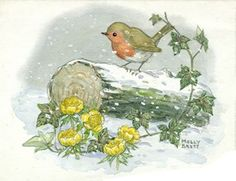 Illustration by Molly Brett featuring a sweet looking robin on a snow covered log.