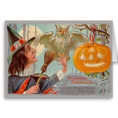 Vintage Halloween Card   (Edit) This lovely vintage Halloween Card shows a witch with an owl and a carved pumpkin