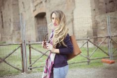 Fashion Blog - Outfit #look #outfit #ootd #blogger #style #fashion #casual #jeans #plaidscarf #michaelkors #celine # #falllook #blonde #details #accessories