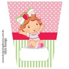 KIT FESTA PRONTA MORANGUINHO BABY GRÁTIS PARA BAIXAR Candy Wrappers, Strawberry Shortcake, Princess Peach, Alcohol, Posts Instagram, Birthday, Party, Kids, Strawberries