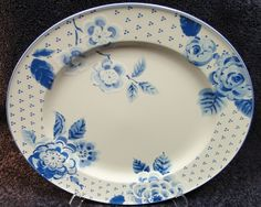 "Mikasa Blue Sonata Intaglio CAC12 Dinner Rnd Chop Plate 12 3/4"" MINT! in Pottery & Glass, Pottery & China, China & Dinnerware   eBay"