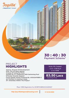 Shapoorji Pallonji Joyville Gurgaon offers premium Apartments of 2/3/4 BHKconfiguration in Sector-102 Gurgaon. Invest starts from 83.50 Lacs* to live in your own flat in Shapoorji Pallonji Joyville Sector 102 Gurgaon . Kindly call @ 90158-9999 to know more about this #joyvillegurgaon #shapoorjipallonjijoyvillegurgaon #shapoorjipallonjijoyville #shapoorjipallonjigurgaon #shapoorjipallonjidwarkaexpressway #shapoorjipallonjiingurgaon #joyvillegurgaonsector102 #shapoorjijoyvillegurgaon #shapoo Apartments, Acre, Swimming Pools, Investing, Flat, Luxury, Projects, Swiming Pool, Log Projects