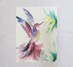 Abstract hummingbird ORIGINAL watercolor painting, 12x16 inches, blue, yellow, purple