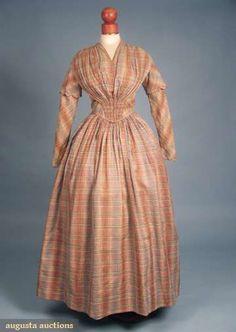 Augusta Auctions, April 2009 Vintage Fashion and Textile Auction, Lot 122: Madras Day Dress, 1840s