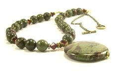 Dragon Blood Jasper Gemstone Necklace Green by BobblesByCarol