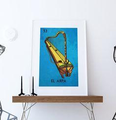 Loteria El Arpa Mexican Retro Illustration Art Print Vintage Giclee on Cotton Canvas or Paper Canvas Poster Wall Decor #homedecor #retro #art #homedecorideas #wallart #mexicanart #mexicanfolkart #loteriaprint #artprint #giclee #art #bingo #hand #handmade #print #mexicanfolkart #kitch #vintage #largegiclee #etsy #ElArpaprint #Arpa #ElArpa #harp