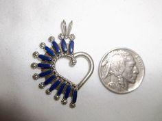 Native American Zuni Sterling Silver Needlepoint Lapis Heart Pendant Signed RS #Handmade #Needlepoint #Zuni