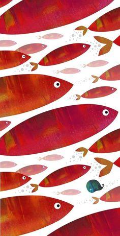 A. Fox #art #illustration #fish #whale #ocean #cute #school #sushi