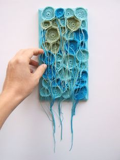 Tentacles Fiber Art Soft Sculpture Wall Art Hand Crocheted in Aqua, Turquoise… Freeform Crochet, Hand Crochet, Free Crochet, Textile Fiber Art, Textile Artists, Crochet Wall Art, Art Populaire, Quilt Modernen, Textiles