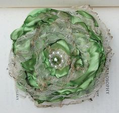 Apple Green with tea stained tulle flower accessory, Shabby Chic, Hair clip or pin, Wedding
