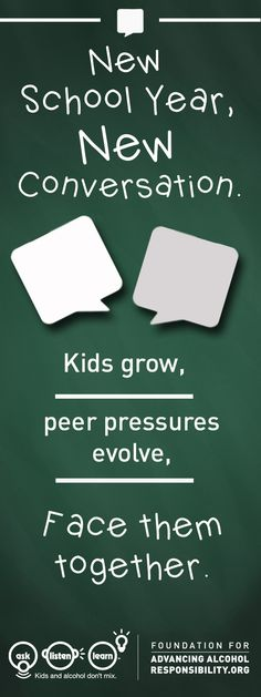 A new school year warrants a new conversation about how to say 'NO' to underage drinking. Do you know what kinds of peer pressures your kid will face, and if they are equipped with the right tools to handle uncomfortable situations? Get the resources you need to start the conversation at responsibility.org.