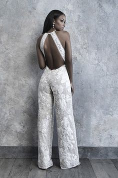 Madison James 2019 Bridal Collection // sleeveless halter neck full embellishment modern sophiscated jumpsuit wedding dress low keyhole back bv — The 2019 Madison James Bridal Collection is A Modern Bride's DreamJumpsuit wedding dress idea - lace jump Pretty Wedding Dresses, Designer Wedding Dresses, Short Beach Dresses, Sexy Dresses, Casual Dresses, Bridal Pants, Outfit Chic, Wedding Jumpsuit, Lace Jumpsuit