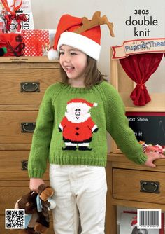 Childrens Christmas jumper pattern Knitted Santa jumper Sweaters - King Cole Christmas knitting