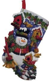 Snowman with Birds Bucilla Christmas Stocking Kit