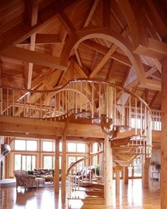 Timber frame Great Room with spiral staircase