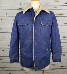 Sears Jacket Men's 40 Vintage 70s Denim Trucker Sherpa Lining Button Up Retro #Sears #BasicJacket