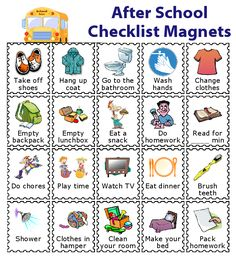 20 Printed Magnets for Kids - 20 After School Checklist magnets to use with The Trip Clip Magnet Bundle. You can buy them pre-pri - After School Checklist, After School Routine, Kids Checklist, School Routines, Cleaning Checklist, Kids Routine Chart, Kids Schedule Chart, Visual Schedule Printable, Daily Routine Chart For Kids