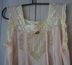 Antique silk nightgown with lace trim and yoke