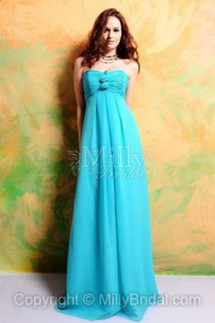Empire Chiffon Strapless Floor-length Blue Bridesmaid Dress at Millybridal.com