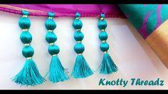 How to make Saree Kuchu Design using Silk Thread - Beaded Design at Home   Tutorial !!