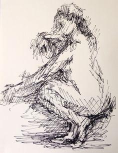 """Título: """"Leaned"""" Autor: Ramiro Beltrán Twitter: @rabeltm Técnica: tinta sobre papel"""
