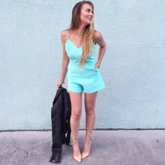 bebe aqua blaue open back bow detail romper, steve madden lace-up heels and all saints cargo black leather jacket. #HelloGorgeous