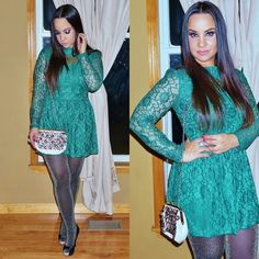 New Years Eve 2015, NYE 2015, holiday outfit, New Years outfit, lace dress, green dress, metallic tights, smoky eyes, metallic eye makeup, makeup, Lakshmi in Trance, Lakshmintrance