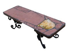 Comet: An 18 x 60 x 16 tall natural stone topped folk art table featuring a large agate slab Sandstone Slabs, Black Grout, Accent Tables, Recycled Materials, Drafting Desk, Natural Stones, Folk Art, Agate, Recycling