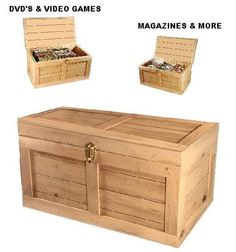 Storage Chest Hope Trunk Wood Locker for Toys DVD Games CD Magazines Flat Top | eBay