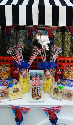 Kids Superhero themed candy cart for a birthday bash. From Scrumdiddly-YUM-ptious Superhero Birthday Party, 10th Birthday, Candy Cart Hire, Candy Trees, Sweet Carts, Sweet Trees, All Fruits, Candy Crafts, Kids Party Themes