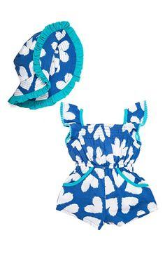 Masalababy 'Zuri' Romper & Hat Set (Baby Girls)