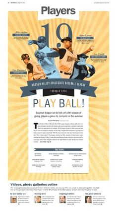 Play Ball! A feature on a local collegiate baseball league that has seen a few MLB players among their ranks  #Newspaper #Layout #GraphicDesign