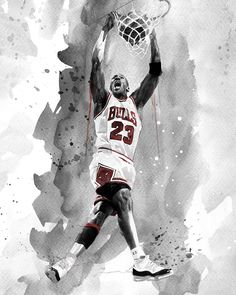 Artist David Mahoney captures Michael Jordan throwing down a wicked 2-handed jam while rocking the historic home white Chicago Bulls jersey and the iconic Air Jordan 11's