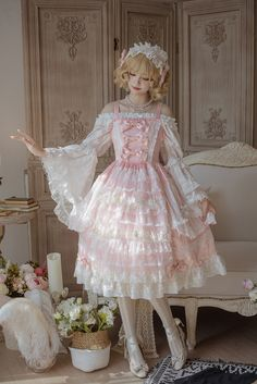 Moon garden series~Elegant and gorgeous Lolita Jsk Dress Harajuku Fashion, Kawaii Fashion, Cute Fashion, Rock Fashion, Estilo Lolita, Kawaii Dress, Kawaii Clothes, Looks Kawaii, Gothic Lolita Fashion