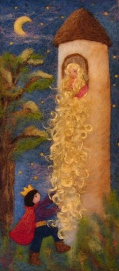Felt panel Rapunzel - love this one! (woolpictures.com)