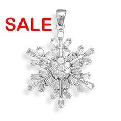 40% Percent OFF SALE Brilliant CZ Snowflake by ForsgateJewelry