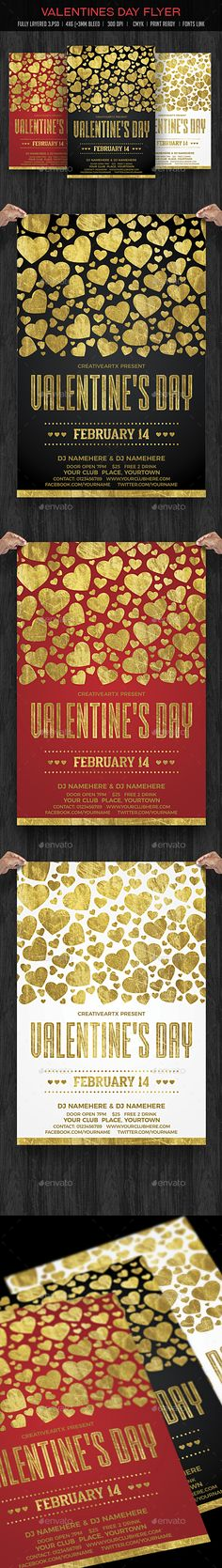 Valentines Day Flyer — Photoshop PSD #club #february • Available here → https://graphicriver.net/item/valentines-day-flyer/19272605?ref=pxcr